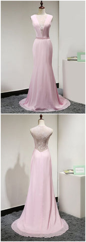 Long Evening Gowns, 2018 Sexy Prom Dress, Pink Prom Gowns Modest Prom Dress , Formal Women Dress, Custom Made ,New Fashion ,E0184