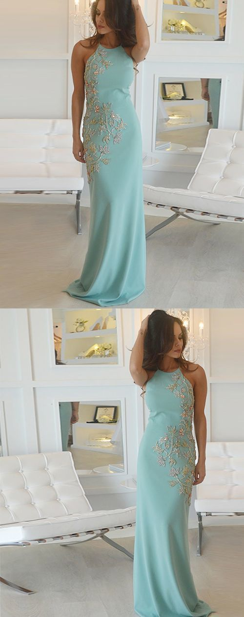 Round Neck Green Mermaid Evening Dress, Sexy Long Prom Dress with Appliques,E0245