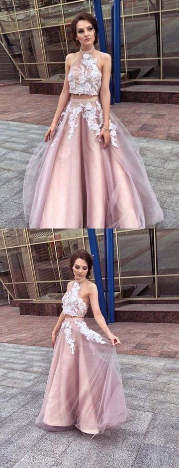 Vintage Two Piece High Neck Prom Dress with Appliques Tulle Prom Gown ,E0250