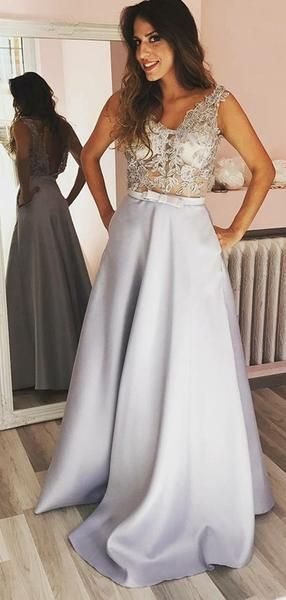 Sexy Lace See Through Grey A-line Long Evening Prom Dresses, Sparkly Sweet 16 Dresses,E0252