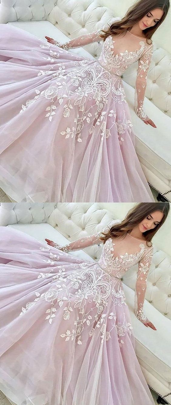 Round Neck A Line Long Sleeve Pink Tulle Prom Dress, Appliques Long Evening Dress ,E0253