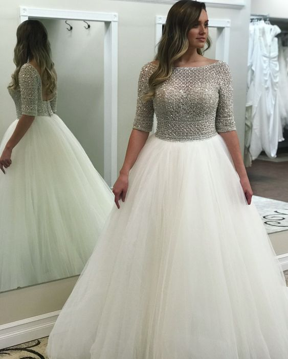 Charming Prom Dress, Short Sleeve Tulle Prom Dresses, Long Evening Dress, Formal Gown ,E0255