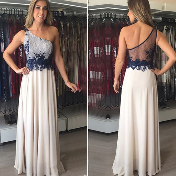 One Shoulder Formal Evening Dress,Floor Length Lace Top Evening Dress,Sexy Prom Dress  ,E0261