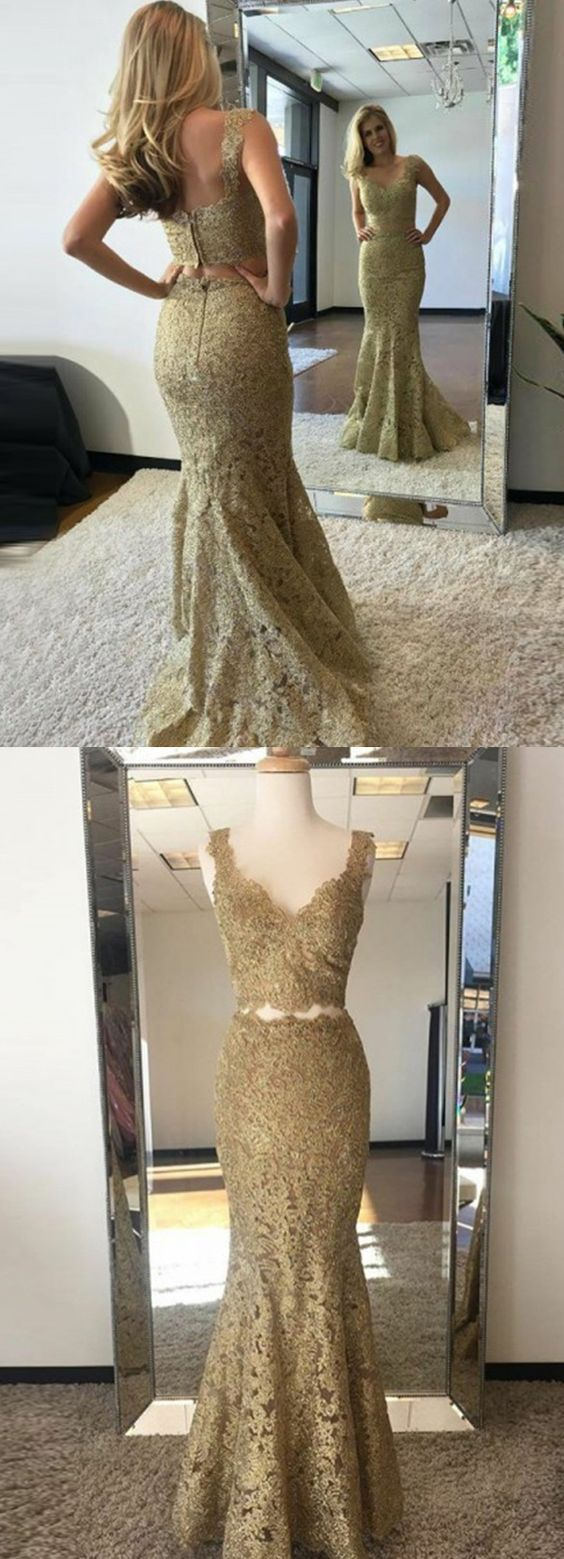 Two Piece Mermaid V-Neck Sweep Train Gold Lace Prom Dress,E0263