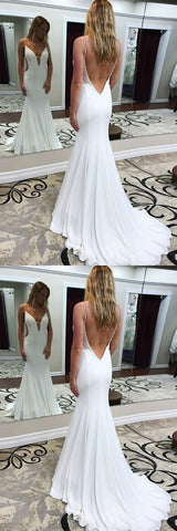Sexy V Neck Mermaid Formal Evening Gown,White Backless Party Dress With Sweep Train ,E0302