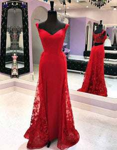 Red lace sweetheart long A-line bridesmaid dress, long customize graduation dress ,E0307