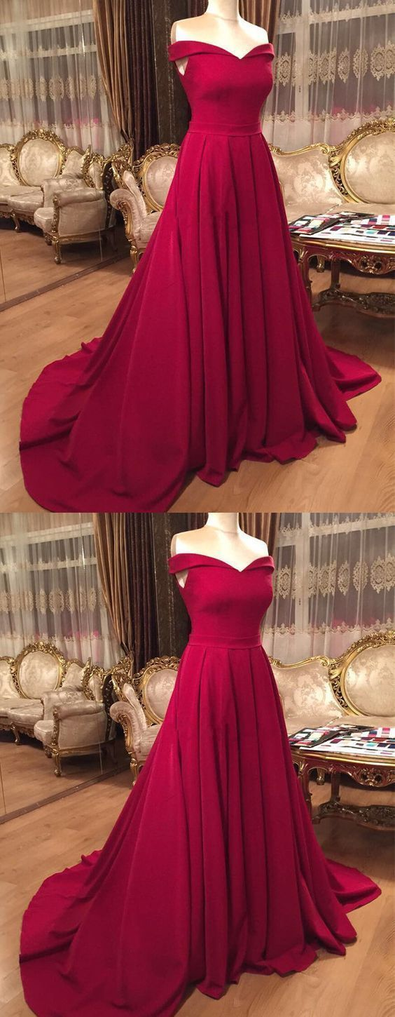 Sexy Long V-neck Off Shoulder Prom Dresses Court Train Evening Gowns,E0312