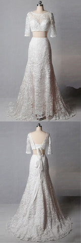 Unique White Lace Two Pieces Sweep Train Formal Prom Dress With Sleeve,E0315