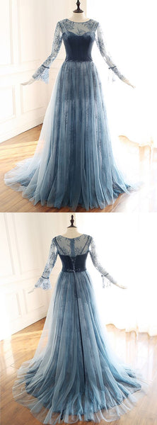 Blue Gray Lace Long Velvet Custom Made Formal Prom Dress With Sleeve,E0319