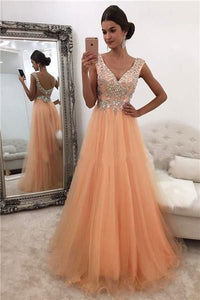 A-line V-neck Shinny Rhinestone Beaded Long Prom Dresses,E0321