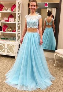 Capped Sleeves Prom Dresses,Floor-Length Prom Dress,Backless Lace A-Line Evening Dress,E0324