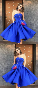 Gold Satin Strapless Ball Gowns Prom Dresses Knee Length Evening Dress,E0326