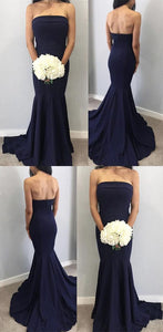 Sexy Strapless Long Corset Satin Simple Mermaid Bridesmaid Dresses,E0338