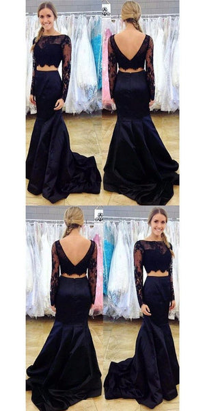 Navy Blue Two Piece Prom Dress, Long Sleeve Lace Prom Dresses, Mermaid Crop Top Prom Dress,E0341