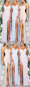 Sexy Spaghetti Straps Long Jersey V-neck Mermaid Bridesmaid Dresses With Slit ,E0348