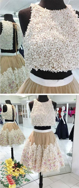 A-line Floral Lace Homecoming Dresses Two Piece Prom Dress Short,E0352