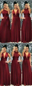 Long Jersey Floor Length Bridesmaid Dresses Convertible Style,E0354