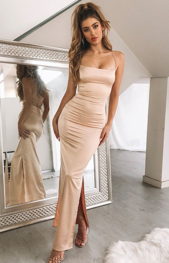 Slip Formal Dress Champagne fashion gown, E0357