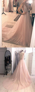 A-line Long V-back Cheap Long tulle Sexy Prom Dresses, E0358