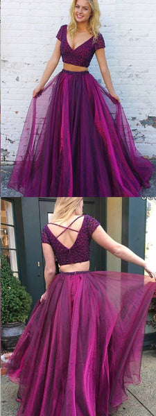 Two Piece V-Neck Short Sleeves Purple Tulle Beaded Prom Dresses,Cheap Prom Dress ,E0359