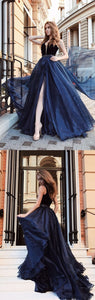 Gorgeous Ball Gown V Neck Velvet & Organza Beaded Dark Navy Long Prom Dresses, Elegant Evening Dresses,E0360