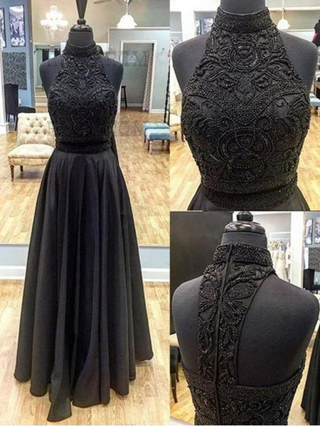Two Piece Prom Dress A line Beautiful Long Black Cheap Prom Dress,E0367