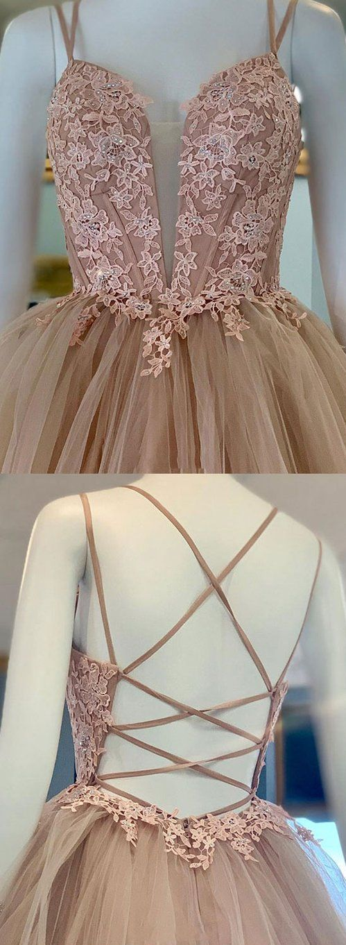 A Line Criss Cross Straps Back Pink Prom Dress With Appliques,E0370