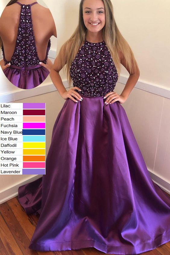 Ball Gown Halter Beading Purple Long Prom Dress,E0376