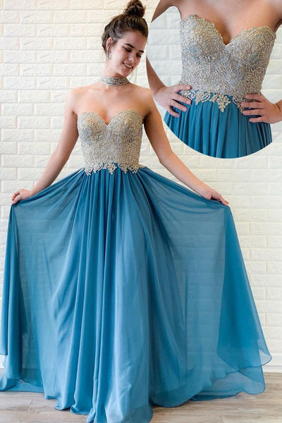 Sweetheart Beaded Long Ocean Blue Prom Dress with Pleats,E0377