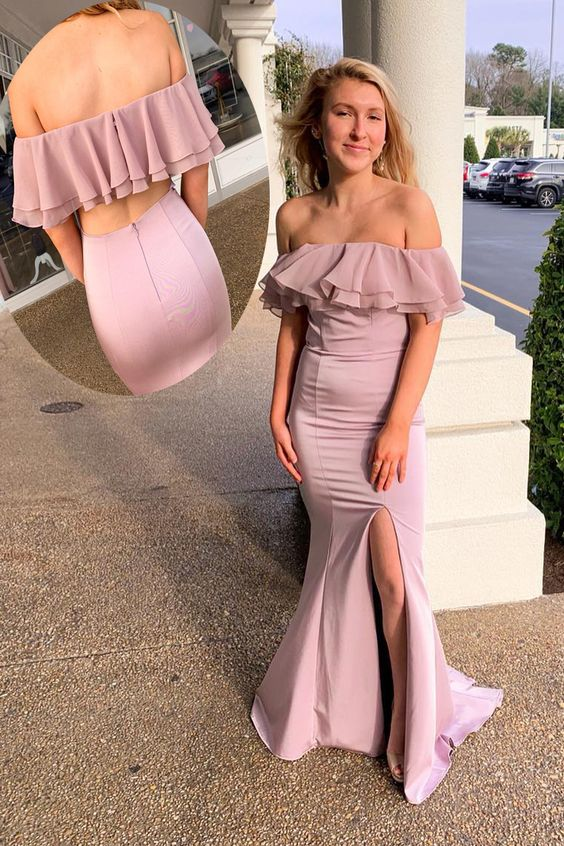Off Shoulder Ruffles Mermaid Pink Prom Dress with Slit,E0381