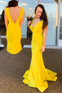 Mermaid V-Back Ruched Long Yellow Prom Dress,E0382