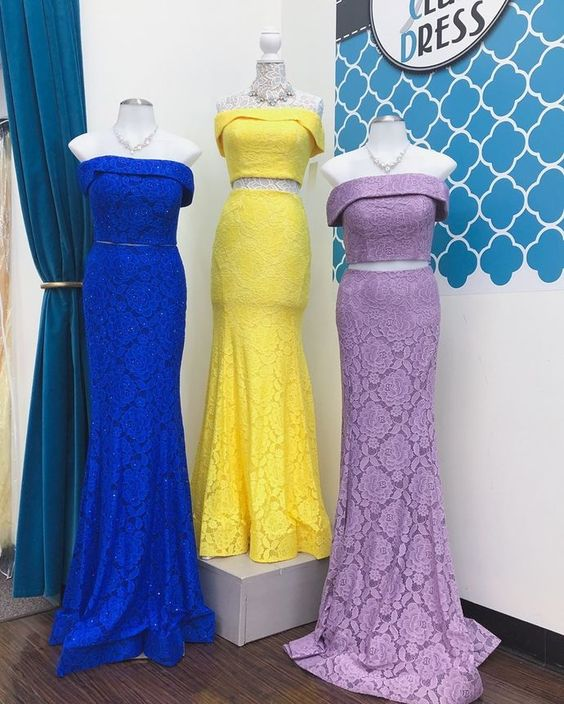 Elegant Mermaid Lace Long Prom Dress Off Shoulder,E0385