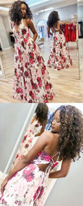 Halter Floral Long Prom Dress With Pockets,E0387