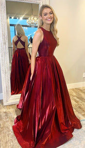 A-Line Ball Gown Long Prom Dress with Cross Back,E0390