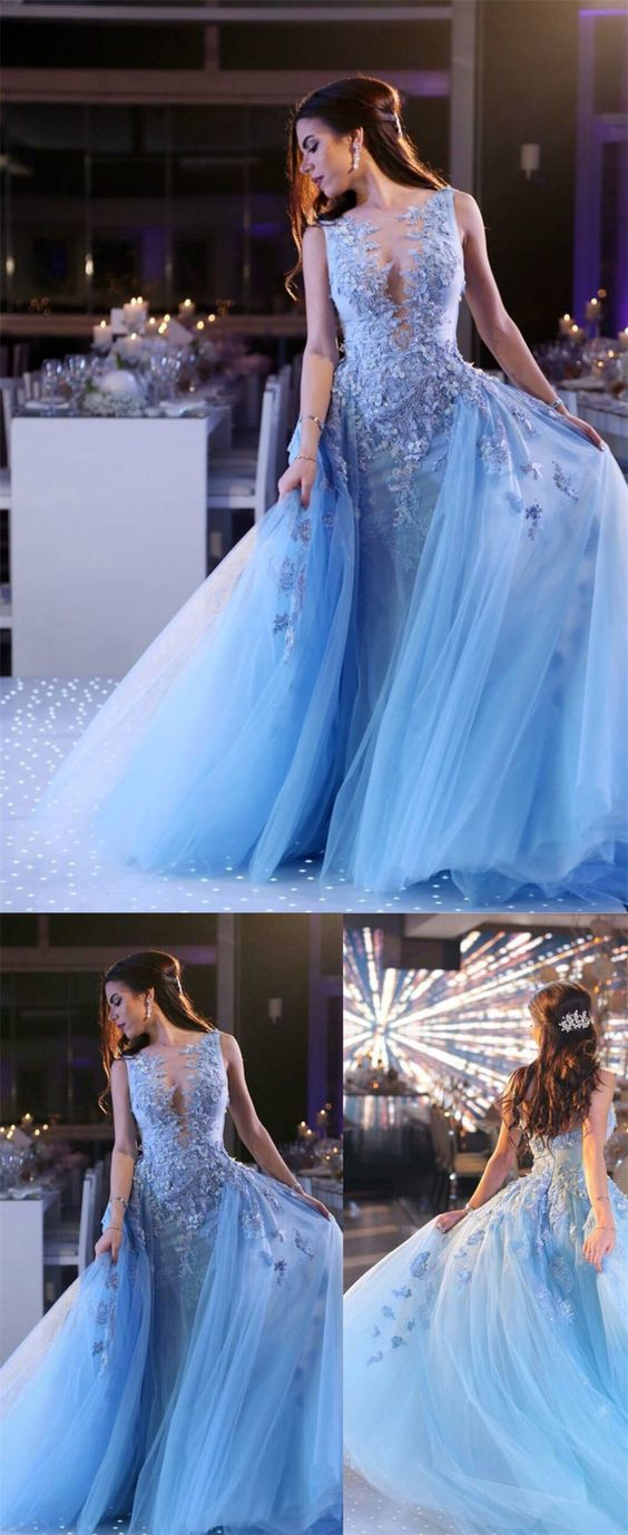 Glamorous Stunning Unique A-Line Deep V-Neck Sweep Train Blue Tulle Prom Dress with Appliques Beading,E0407