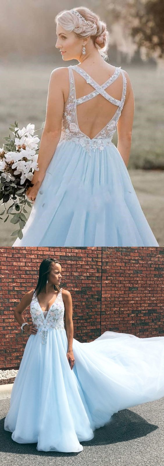 Open Back Prom Dresses with Straps A Line V-neck Long Embroidery Sky Blue Prom Dress,E0409