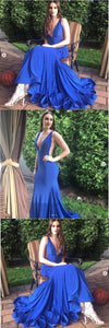 Sexy Royal Blue Evening Dress, Long Mermaid Prom Dress, Custom Made Formal Dress,E0410
