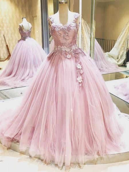 Gorgeous Princess Pink Lace Applique Ball Gown Prom Dresses Tulle Princess Quinceanera Dress,E0411