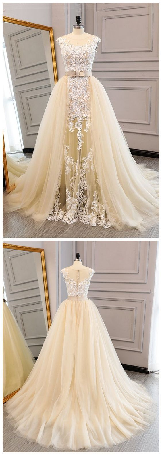 Beautiful unique champagne tulle cap sleeves long lace A-line formal prom dresses,long lace evening dress,E0413