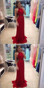Sexy Custom Made Stylish A-Line Halter Red Long Prom/Evening Dress With Beading,E0414
