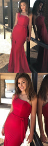 Simple Charming Red One Shoulder Long Mermaid Prom Dresses with Split,E0417