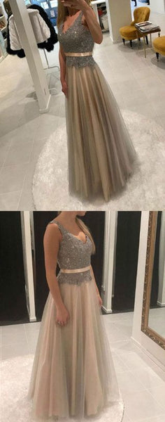A line v neck long prom dress, lace evening dress, formal dress,E0418