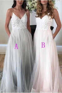 White Lace A Line V Neck Lace Long Prom Dresses Formal Evening Dress With Pocket ,E0419