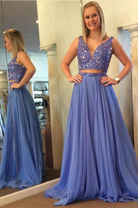 Two Piece V Neck Beaded Blue Slit A Line Long Prom Dresses Formal Evening Grad Dress ,E0421