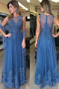 See Through Lace Appliques Blue Long Formal Prom Dresses Evening Mother's of Bride Dress ,E0422