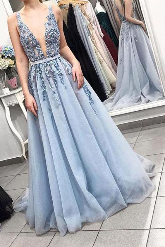 A Line Deep V Neck Beaded Open Back Light Blue Long Wedding Prom Dress Formal Dresses,E0424
