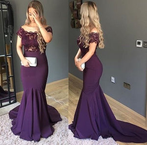 Mermaid evening dress Off shoulder Prom Dress,sheath Purple Evening Dress,Train Party Dress,E0427