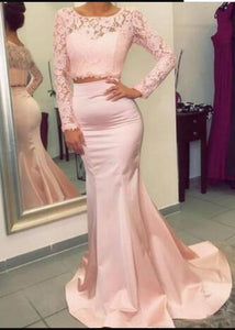 Gorgeous Long Sleeves Two Pieces Prom Dresses ,E0430