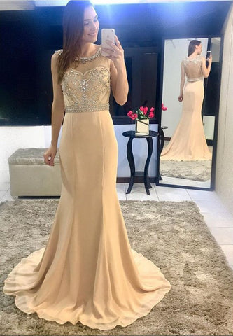 Beading Bodice Champagne Chiffon Mermaid Evening Dress Backless Prom Gowns ,E0431