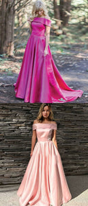 A-Line Off-the-Shoulder Sweep Train Pink Satin Prom Dress,E0434